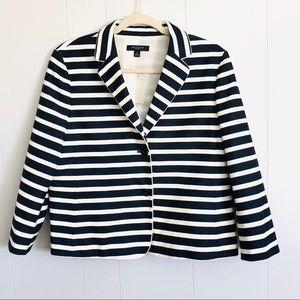 Ann Taylor navy striped nautical button blazer